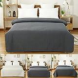 WOLTU BWP5004gr1 Couvre-lit rembourré et matelassé Couverture de lit Flannel Double réversible 170x210cm,Gris