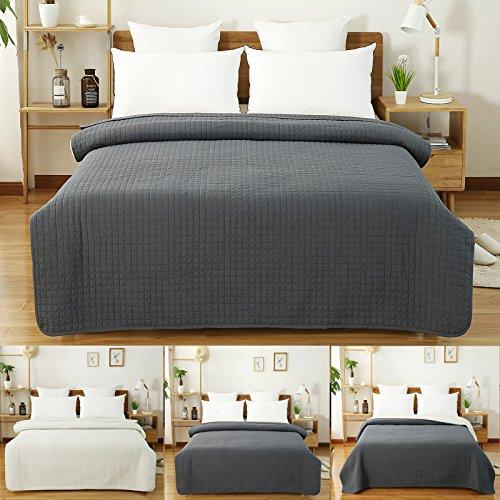 WOLTU BWP5004gr2, Tagesdecke Bettüberwurf Steppdecke Patchwork Wendedesign Kariert, Bettdecke Stepp Decke Doppelbett unterfüttert und Gesteppt, 220x240 cm, Dunkelgrau