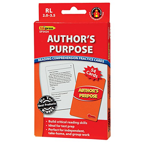 Edupress (EP-3424) Reading Comprehension Practice Cards, Author's Purpose, Red Level
