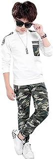 LOLANTA T-Shirt Manica Lunga da Ragazzo + Pantaloni Mimetici, Set di Abbigliamento 2 Pezzi per Bambini