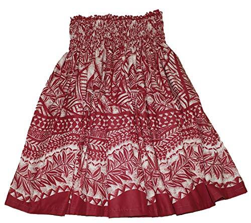 夏威夷pa'u hula裙夏威夷打印花妇女(红色/黄色)