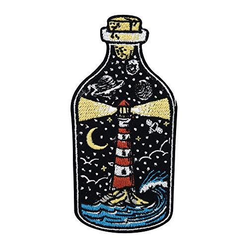 Parche termoadhesivo con diseño de faro en la botella   Parches de mar, luna, estrellas, ondas, planetas, Finally Home