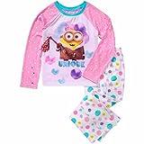Unique Minion Girl's Size 6/6X Graphic Pajama Top, Fleece Pants Pink