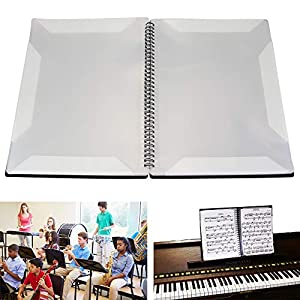 BUZIFU Premium Notenmappe für Klavier und Breite Notenständer, 4 Notenblätter im Überblick, Stabiles Kunstleder, 16 Seiten, A4, Schwarz
