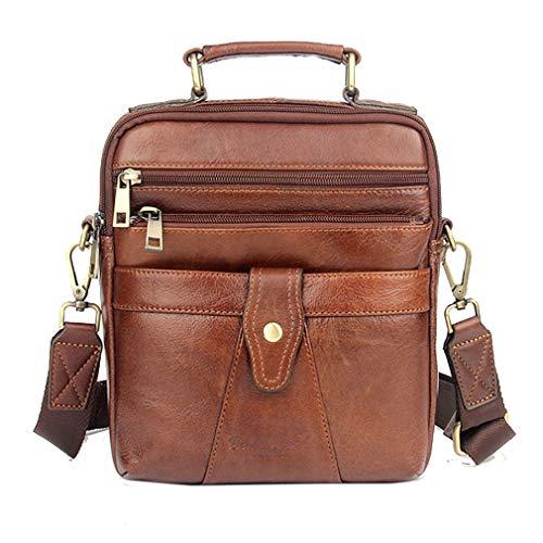Xieben Vintage Leder Umhängetasche Messenger Bag für Herren Travel Business Crossbody Fanny Handtaschen Aktentasche Brieftasche Telefon Brust Tasche Geldbörse DayPack Casual Braun