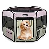JESPET 45' Pet Dog Playpens, Portable Soft Dog Exercise Pen Kennel with Carry Bag for Puppy Cats Kittens Rabbits, Pink