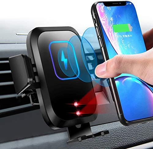 DIMITION Wireless Charger Auto 15W Kabelloses KFZ Ladegerät Auto Handyhalterung Qi Induktion Automatisches Kabelloses Autoladegerät Handyhalter Schnellladegerät für iPhone Samsung Huawei LG QI