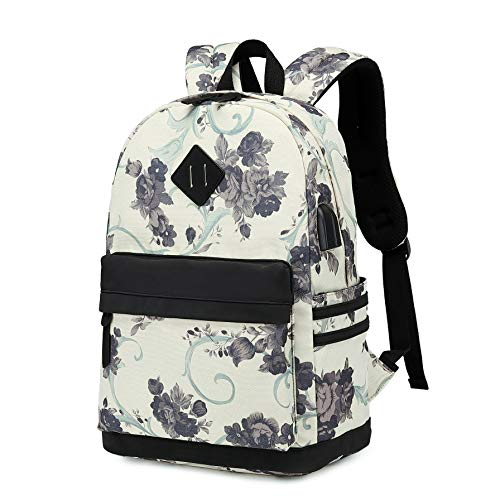 Backpacks for Teen Girls, High School Flora Backpack Book Bags, Notebook Laptop Backpack With USB Port (Small Black)