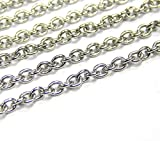 Perlin – Cadena de acero inoxidable de 3 metros de cadena de metal de acero inoxidable, cadena de eslabones, 3 x 2 mm, color plateado, por metros, para joyas, accesorios DIY M423 x 3