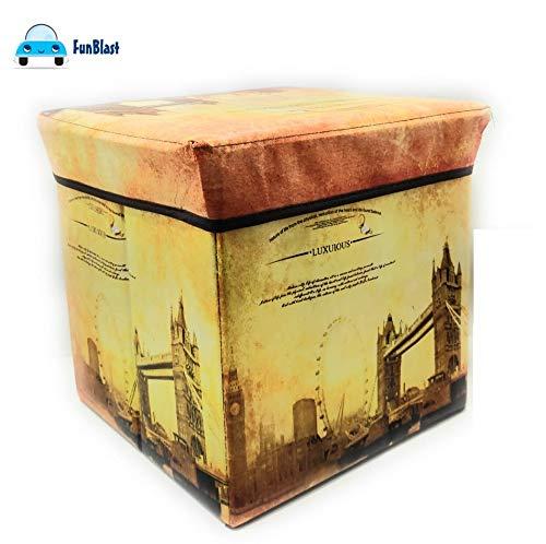 FunBlast Multi-Functional Folding Storage Ottoman Box Organizer Cum Stool with Seat Cushion, Storage Boxes for Toys for Kids (Bridge)