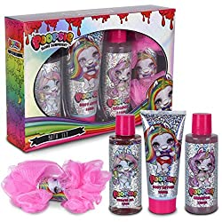 🦄 PACK BATH POOPSIE – Personal care kit for girls with fun design of glitter and Poopsie unicorns. This pack includes: 150ml bath gel, 100ml body lotion, 150ml hair shampoo and pink shower sponge. Ideal pack unicorn slime kit for Christmas and birthd...