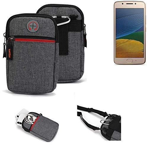 K-S-Trade® Gürtel-Tasche Für Lenovo Moto G5 Single-SIM Handy-Tasche Holster Schutz-hülle Grau Zusatzfächer 1x