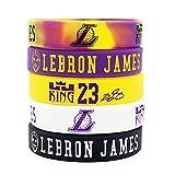 Baloncesto de la NBA Lebron James Retrato Pulsera número 23 DE Silicona Deporte Inspirador Palabra Pulsera 5 Piezas (Los Angeles Lakers)
