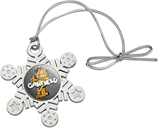 GRAPHICS & MORE Garfield with Logo Metal Snowflake Christmas Tree Holiday Ornament