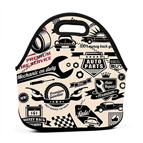 Portable Lunch Bag Carry Case Tote Container Bags,Car Repair Shop Logos Monochrome Car Silhouettes Best Garage In Town,Unisex Outdoor Travel Fashionable Handbag Pouch for Kids