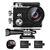4K Action Camera 16MP Vision 3 Underwater Waterproof Camera 170° Wide Angle WiFi Sports Cam with Remote 2 Batteries and Mounting Accessories Kit