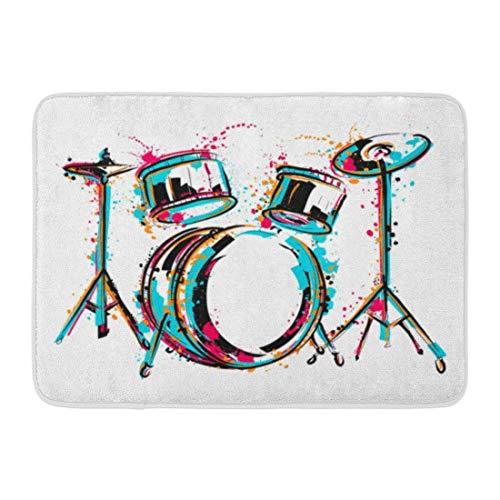 Fußmatten Bad Teppiche Outdoor/Indoor Fußmatte Sketch Drum Kit Spritzer in Aquarell Bunte Reggae Schlagzeuger Musik Badezimmer Dekor Teppich Badematte