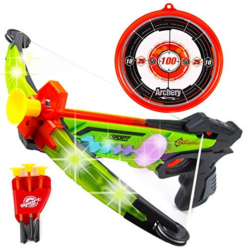 Toysery Real Crossbow Archery Set - Bow and Arrow Comes with Suction Cup Arrows and Target - Great for Indoor and Outdoor Game - Bow and Arrow for Kids with LED Flash Lights - Ultimate Fun for Kids