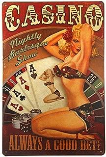dingleiever-Casino Always A Good Bet Pin Up Girl Metal Sign Metal Decor Art Bar Pub Shop Store