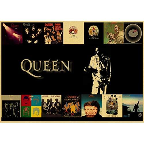 haoziggdeshoop Queen Band póster Vintage Retro póster Arte Impreso Pintura Decoración de la habitación Inicio Pegatinas de Pared Lienzo Pintura 50x70cm(haoziggno-545)