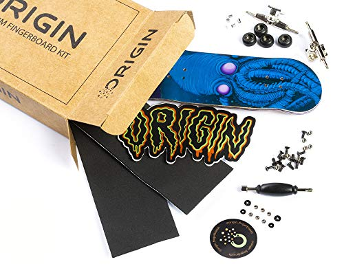Origin Fingerboards Premium Graphic Fingerboard Kit - 32mm 5-Ply Canadian Maple Skateboard Toy with CNC Bearing Wheels (Kraken)