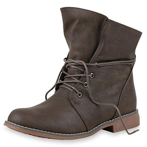SCARPE VITA Damen Stiefeletten Worker Boots Schnürstiefel Warm Gefüttert 151845 Taupe 36