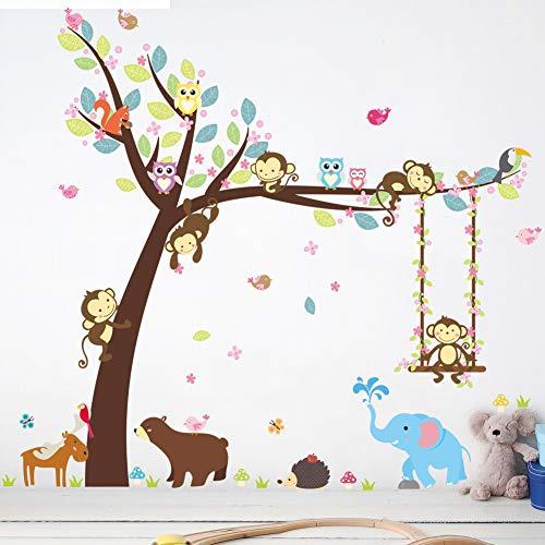 Autocollant Mural PVC Forêt Heureux Animaux Ours Hibou Cheeky Singe Swing Arbre Bricolage pour Enfants Chambre Bébé Pépinière Carton Décor Home Decal Mural