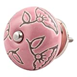 IndianShelf Handcrafted 20 Pieces Ceramic Calla Lily Etched Pink Door Knobs for Cabinet Dresser Drawer Pulls Artistic