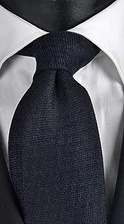 Corbata de hombre de lana y seda azul con micro fantasía tono ...