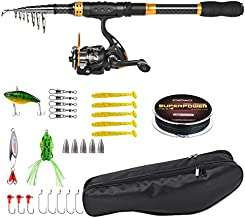 Spinning Fishing Rod and Reel Combos for Beginner Carbon Fiber Portable Telescopic Fishing Pole Set with Full Kits for Travel Saltwater Freshwater Fishing (Fishing Rod Set with All Accessories, 5.91)