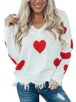 Women s Heart Pattern Ripped Sweater V Neck Distressed Knit Pullover Jumper Top Red