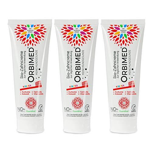 ORBIMED Bio-Zahncreme KINDER (3 X 75 Ml), Minzig-Süßlicher Geschmack, Bio Zahnpasta, Vegan, Fluoridfrei, Bei Homöopathischer Behandlung, Naturkosmetik