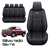 Aierxuan Silverado Sierra Car Seat Covers Front Set with Waterproof Leather, Fit for 2007-2021 1500/2500 HD / 3500 HD Crew,Double,Extended Cab or Pick-up Truck(Black and White)