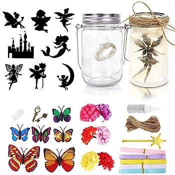 2Packs Fairy Lantern Craft Kit for Kids,Decorative Hanging Night Light with String Lights-KISSTAKER DIY Make Your Own Fairy Lantern Jar