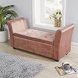 Home Source Verona Blush Pink Leinen Stoff Ottoman Fenster Stauraum Bett Decke Box, Rose, Large