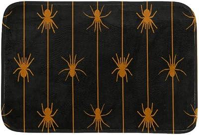 EGGDIOQ Doormats Orange Spiders Hanging On The Spider Line Custom Print Bathroom Mat Waterproof Fabric Kitchen Entrance Rug, 23.6 x 15.7in