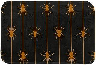 EGGDIOQ Doormats Orange Spiders Hanging On The Spider Line Custom Print Bathroom Mat Waterproof Fabric Kitchen Entrance Ru...