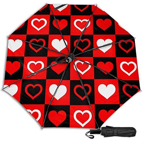 Tarjeta Checker Decoración Cuadrada Decoración Sol Lluvia Manual Tri-fold Paraguas