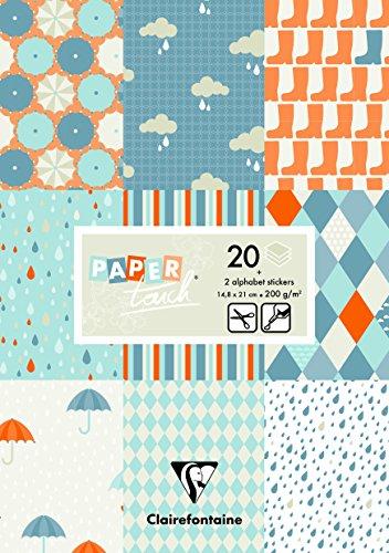 Clairefontaine 95241C - Un bloc de 20 papiers imprimés assortis 14,8x21 cm 200g (10 designs x 2 feuilles) + 2 planches de stickers alphabet + 2 planches d'étiquettes à découper, Pluie