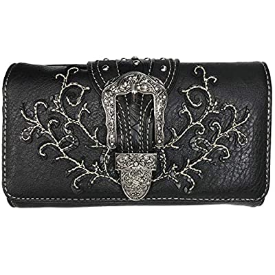 Zelris Western Country Floral Buckle Crossbody Trifold Fold Wallet (Black)