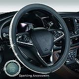 Cubierta del volante de cristal, GES Juego de volante universal de diamantes de imitación de diamante, 15'Cubierta antideslizante hembra del volante + Llavero de arranque (Negro)