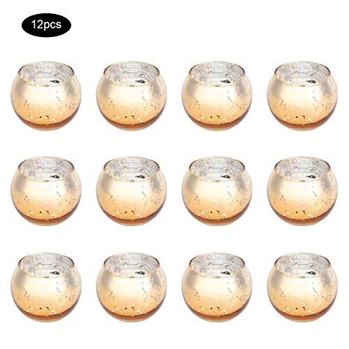 Duokon Elegante Gold Votive Kerzenhalter Bulk, Quecksilber Glas Teelichthalter Set von 12 für Hochzeitsdekor und Wohnkultur