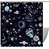 MUMIMI Juego de cortinas de ducha con ganchos, resistente al agua, cortina de baño para hotel, espacio exterior, planetas, luna, estrellas, universo para el hogar, cortina de baño de 183 x 183 cm