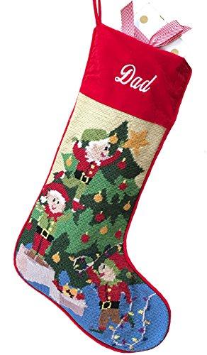 Needlepoint Christmas Stocking: Decorating The Tree