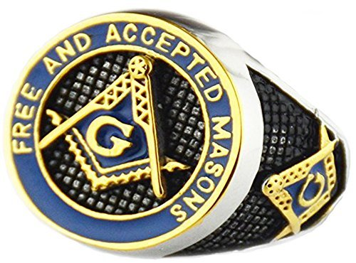 VPKJewelry Mens Free and Accepted Masons Blue Gold Polished Masonic Freemason Stainless Steel Ring Band (10.5)