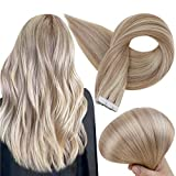 Full Shine Tape in Hair Extensions Human Hair 18P613 Ash Blonde Highlighted Blonde Tape Ins 18 Inch Seamless Skin Weft Adhesive Tape on Real Human Hair Skin Weft