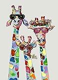 Pintar por numeros animales jirafa - cuadro de lienzo pre dibujado con numeros viene con pinceles y colores brillantes