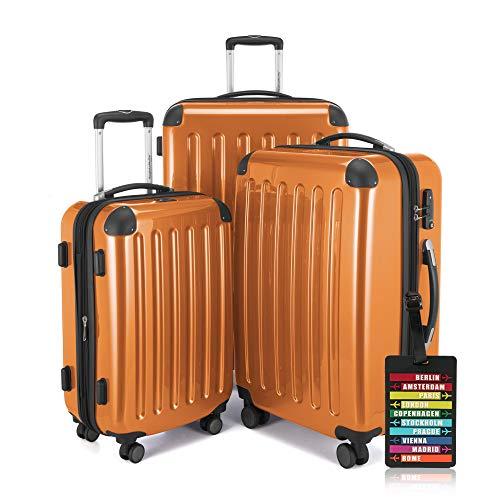 Hauptstadtkoffer - Alex - 3er-Koffer-Set Trolley-Set Rollkoffer Reisekoffer-Set Erweiterbar, Zahlenschloss, 4 Rollen, (S, M & XL), Orange +Design...