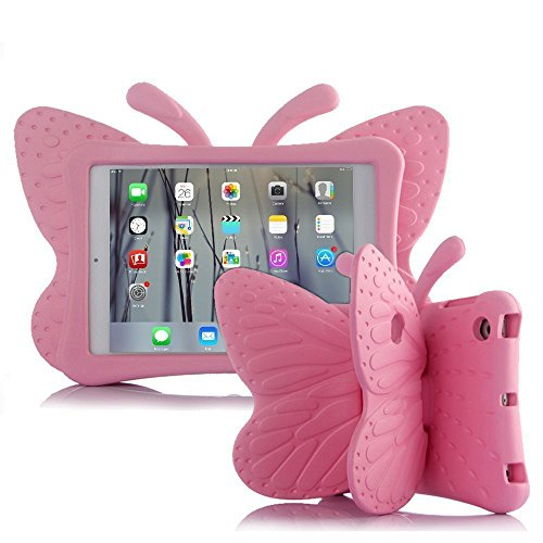 UCMDA Kids Case for iPad 8th / 7th Generation, Compatible with iPad 10.2 Inch, EVA Butterfly Kids Cover Case with Stand for Apple New iPad 10.2 / iPad Pro 10.5 2017 / iPad Air 3 10.5 2019 - Pink