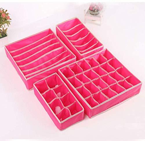 Heiqlay Organizadores de Cajones Plegables, Organizador de Ropa Interior Caja de contenedores de almacenamiento plegable para sujetadores, calcetines, corbatas, pañuelos (4 piezas, rojo rosa)